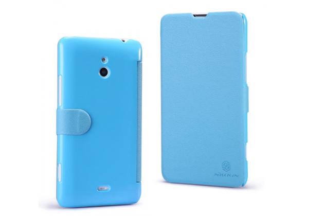 """Фирменный ульра-тонкий чехол-книжка из качественной кожи с мульти-подставкой и застёжкой для Nokia Lumia 1320 """"тематика Fresh Woodbine"""" голубой"""