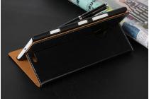 Фирменный чехол-книжка из качественной водоотталкивающей импортной кожи на жёсткой металлической основе для Nokia Lumia 1320 черный