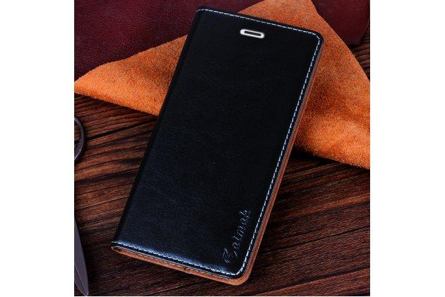 Фирменный чехол-книжка из качественной водоотталкивающей импортной кожи на жёсткой металлической основе для Nokia lumia 1520 черный
