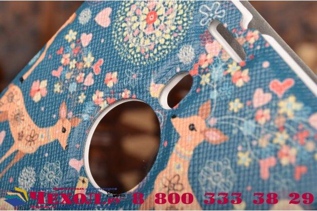 Фирменный чехол-книжка с безумно красивым расписным рисунком Оленя в цветах на Nokia Lumia 1520 с окошком для звонков