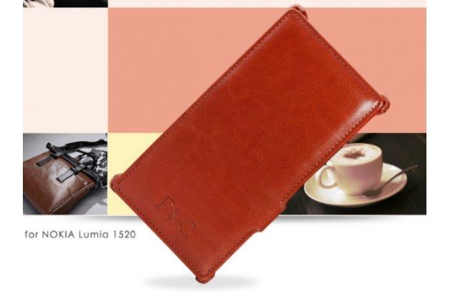 """Фирменный чехол открытого типа без рамки вокруг экрана с мульти-подставкой для Nokia Lumia 1520 коричневый кожаный """"Deluxe"""""""