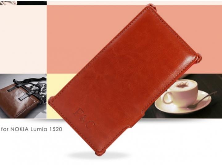 Фирменный чехол открытого типа без рамки вокруг экрана с мульти-подставкой для Nokia Lumia 1520 коричневый кож..