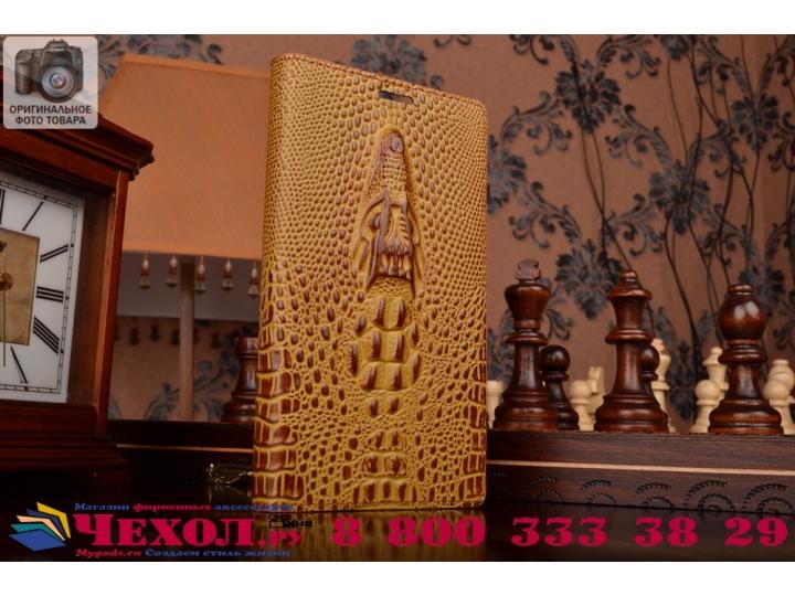Фирменный роскошный эксклюзивный чехол с объёмным 3D изображением кожи крокодила коричневый для Nokia Lumia 15..