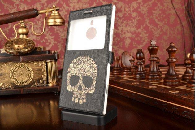 Фирменный чехол-книжка с безумно красивым расписным рисунком черепа на Nokia Lumia 1520 с окошком для звонков