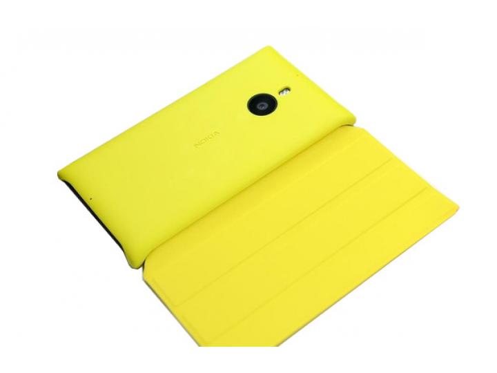Фирменный оригинальный ультра-тонкий чехол книжка с логотипом CP-623 для Nokia Lumia 1520 желтый..