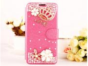 Фирменный роскошный чехол-книжка безумно красивый декорированный бусинками и кристаликами на Nokia Lumia 1520 ..