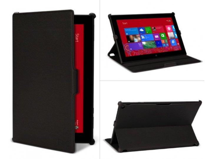 Фирменный чехол открытого типа без рамки вокруг экрана с мульти-подставкой для Nokia Lumia 2520 черный кожаный..