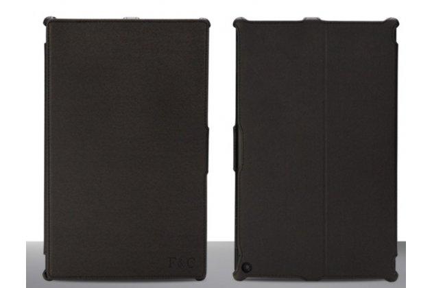 """Фирменный чехол открытого типа без рамки вокруг экрана с мульти-подставкой для Nokia Lumia 2520 черный кожаный """"Deluxe"""""""