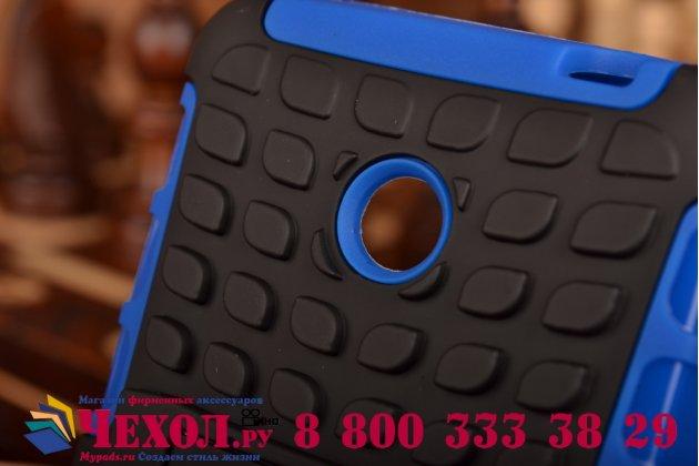 Противоударный усиленный ударопрочный фирменный чехол-бампер-пенал для Nokia Lumia 630 синий