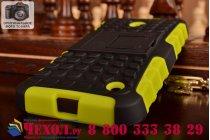 Противоударный усиленный ударопрочный фирменный чехол-бампер-пенал для Nokia Lumia 630 зелёный