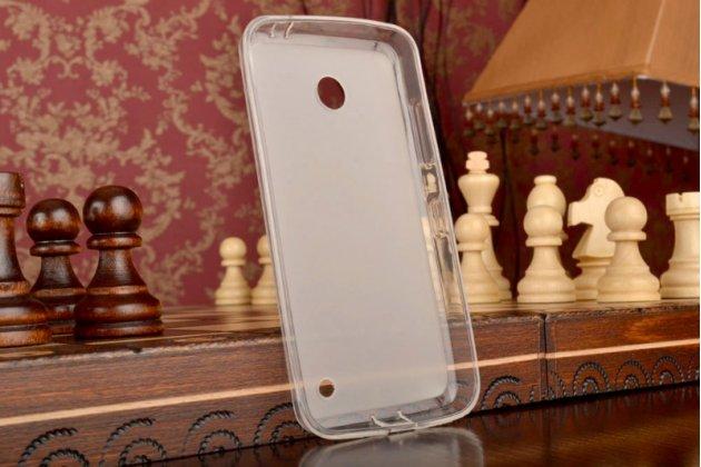 Фирменная ультра-тонкая полимерная мягкая задняя панель-чехол-накладка для Nokia Lumia 630 Dual sim белая