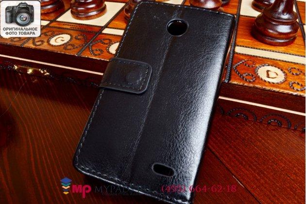 """Фирменный чехол-книжка из качественной импортной кожи для Nokia Lumia 630 Dual sim черный натуральная кожа """"Prestige"""" Италия"""