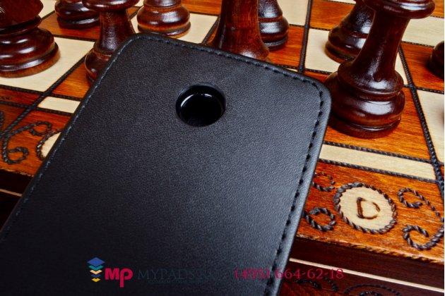 Фирменный вертикальный откидной чехол-флип для Nokia Lumia 630 Dual sim черный кожаный