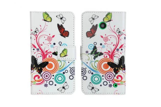 """Фирменный уникальный необычный чехол-книжка для Nokia Lumia 635/636 """"тематика Радужные Бабочки"""""""