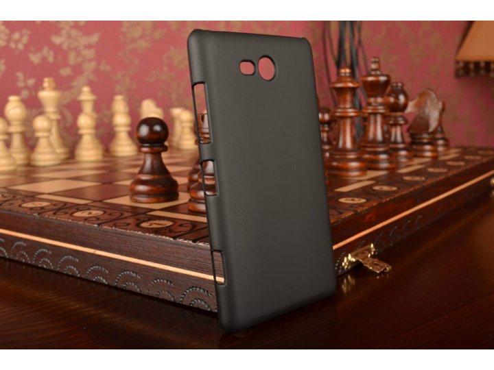 Фирменная задняя панель-крышка-накладка из тончайшего и прочного пластика для Nokia Lumia 820 черная..