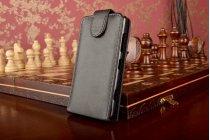 Фирменный оригинальный вертикальный откидной чехол-флип для Nokia Lumia 820 черный кожаный