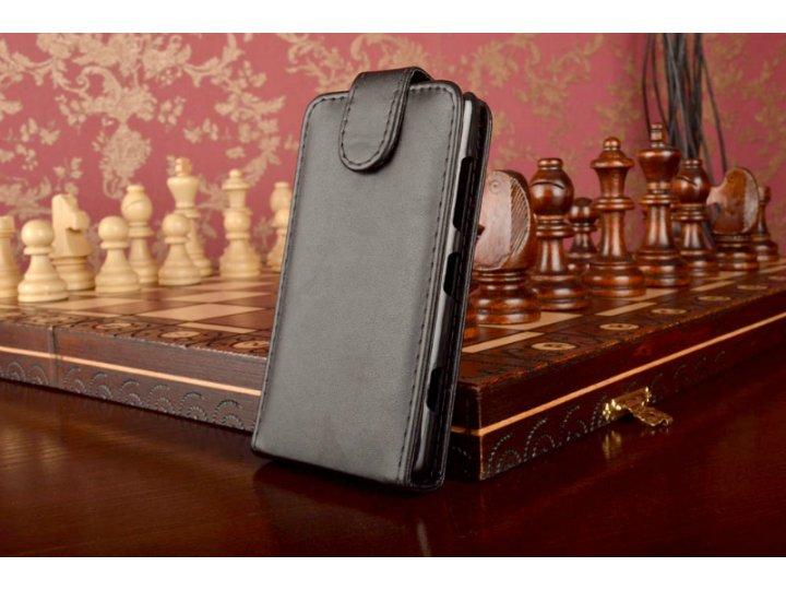 Фирменный оригинальный вертикальный откидной чехол-флип для Nokia Lumia 820 черный кожаный..