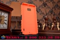 Противоударный усиленный ударопрочный фирменный чехол-бампер-пенал для Nokia Lumia 930 оранжевый