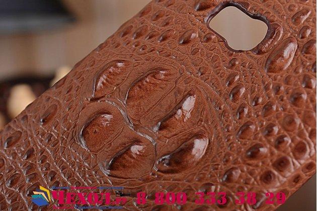 Фирменная элегантная экзотическая задняя панель-крышка с фактурной отделкой натуральной кожи крокодила кофейного цвета для Nokia Lumia 930 . Только в нашем магазине. Количество ограничено.