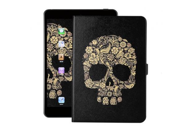 Фирменный чехол-обложка с безумно красивым расписным рисунком черепа для планшета Nokia N1 Tablet 7.9 черный кожаный
