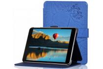 """Фирменный чехол с красивым узором для планшета Nokia N1 Tablet 7.9"""" синий натуральная кожа Италия"""