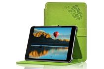 """Фирменный чехол с красивым узором для планшета Nokia N1 Tablet 7.9"""" зеленый натуральная кожа Италия"""