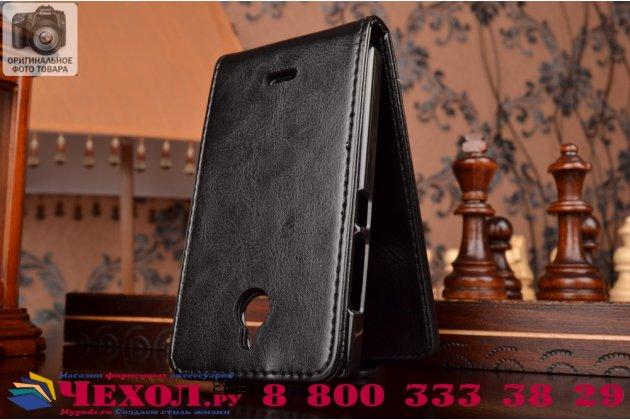 Фирменный вертикальный откидной чехол-флип для Nokia X2 Dual sim черный кожаный