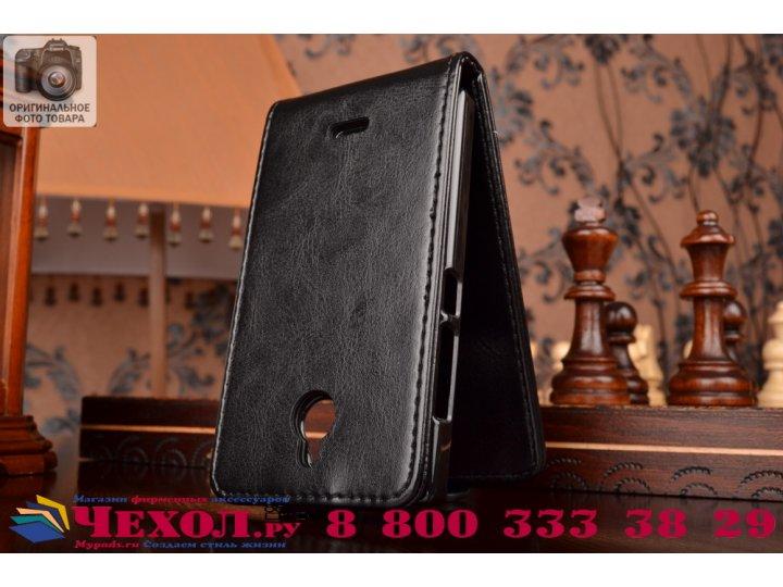 Фирменный вертикальный откидной чехол-флип для Nokia X2 Dual sim черный кожаный..