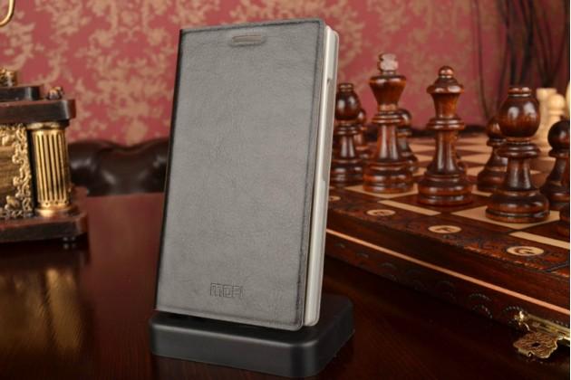 Фирменный чехол-книжка  для Nokia X2 Dual sim из качественной водоотталкивающей импортной кожи на жёсткой металлической основе черного цвета