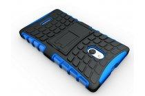 Противоударный усиленный ударопрочный фирменный чехол-бампер-пенал для Nokia XL Dual sim синий