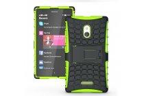 Противоударный усиленный ударопрочный фирменный чехол-бампер-пенал для Nokia XL Dual sim зелёный