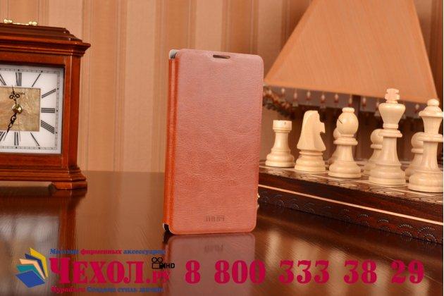 Фирменный чехол-книжка из качественной водоотталкивающей импортной кожи на жёсткой металлической основе для Microsoft Nokia Lumia 535 коричневый