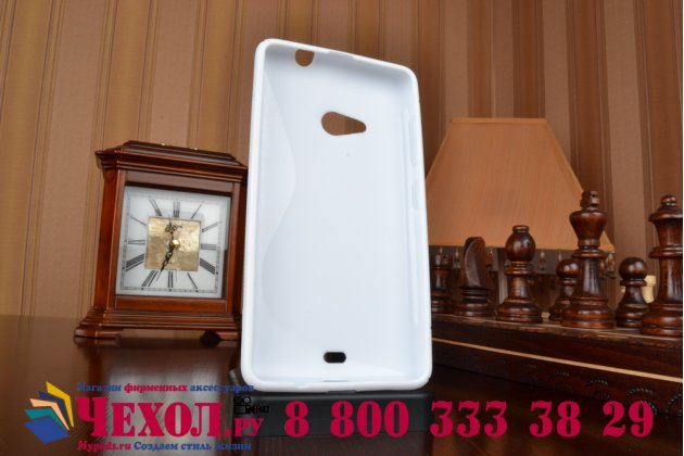 Фирменная ультра-тонкая полимерная из мягкого качественного силикона задняя панель-чехол-накладка для Microsoft Nokia Lumia 535  белая
