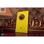 Фирменная задняя панель-крышка-накладка из тончайшего и прочного пластика для Nokia Lumia 1020 желтая..