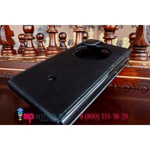 Фирменный вертикальный откидной чехол-флип для Nokia Lumia 1020 черный кожаный