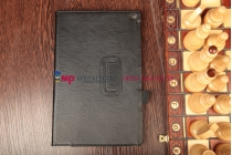 """Фирменный чехол-книжка для Nokia Lumia 2520 с визитницей и держателем для руки черный натуральная кожа """"Prestige"""" Италия"""