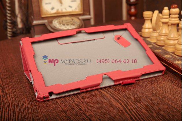 """Фирменный чехол-обложка для Nokia Lumia 2520 с визитницей и держателем для руки красный натуральная кожа """"Prestige"""" Италия"""