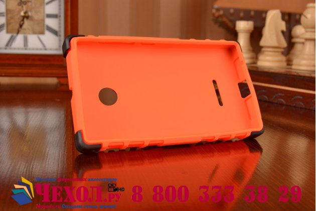 Противоударный усиленный ударопрочный фирменный чехол-бампер-пенал для Microsoft Lumia 435 оранжевый