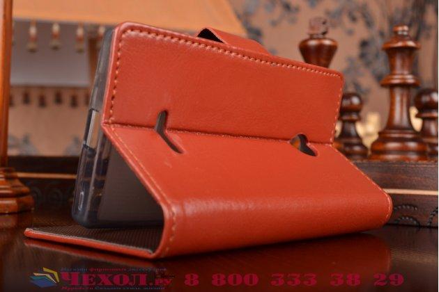 Фирменный чехол-книжка из качественной импортной кожи с мульти-подставкой застёжкой и визитницей для Майкрософт Нокиа Люмия 435 коричневый