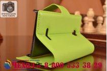 Фирменный чехол-книжка из качественной импортной кожи с мульти-подставкой застёжкой и визитницей для Майкрософт Люмия 435 зеленый
