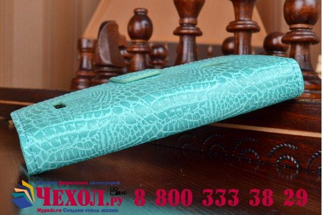 Фирменный чехол-книжка с подставкой для Microsoft Lumia 435 лаковая кожа крокодила цвет морской волны бирюзовый