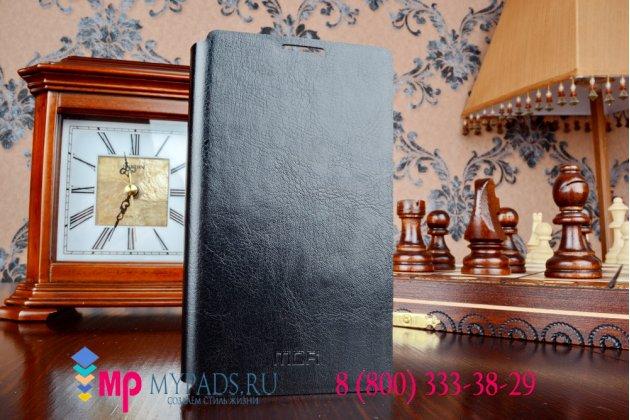 Фирменный чехол-книжка из качественной импортной кожи с подставкой для Microsoft Nokia Lumia 435 черный