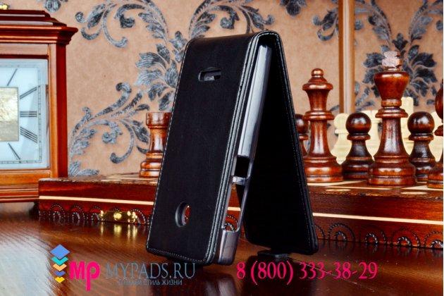 """Фирменный оригинальный вертикальный откидной чехол-флип для Microsoft Nokia Lumia 435 черный кожаный """"Prestige"""" Италия"""