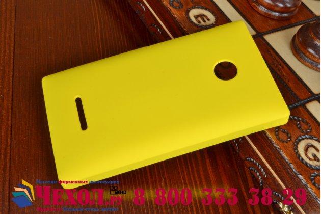Фирменная задняя панель-крышка-накладка из тончайшего и прочного пластика для Microsoft Lumia 435 желтая
