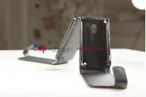 Фирменный вертикальный откидной чехол-флип для Nokia Lumia 620 черный кожаный