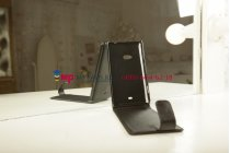 Фирменный вертикальный откидной чехол-флип для Nokia Lumia 625 черный кожаный