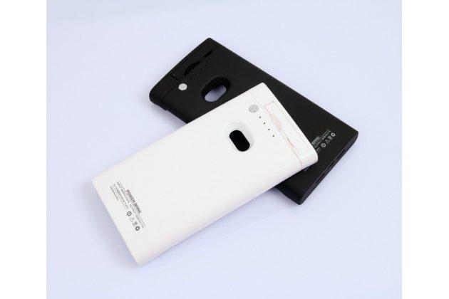 Чехол-бампер со встроенным усиленным аккумулятором большой повышенной расширенной ёмкости 3200mAh для Nokia Lumia 920 / Lumia 920 Dual Sim белый + гарантия