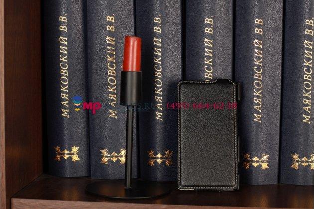 Фирменный вертикальный откидной чехол-флип для Nokia Lumia 920 черный кожаный