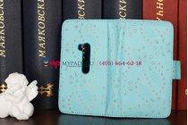 Чехол-книжка для Nokia Lumia 920 голубой со стразами кожаный