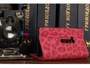 Чехол-книжка для Nokia Lumia 920 леопардовый кожаный розовый..